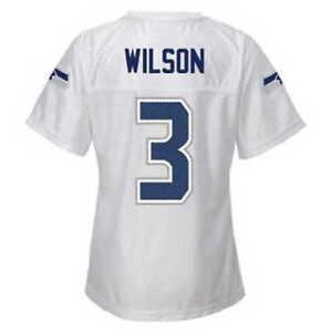 4T Girls #3 WILSON Seattle SEAHAWKS White Football Jersey NFL Team Apparel 7007