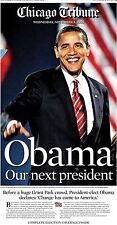 Chicago Tribune Newspaper President Barack Obama 11/05/08 Inaugural Year History