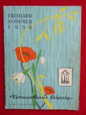 "DDR Katalog Vesandhaus Leipzig Frühjahr Sommer 1959 mit Beilage ""Jenaer Glas"""