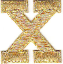 """LETTERS-GOLD METALLIC 1 3/4"""" LETTER """"X"""" - Iron On Embroidered Applique Patch"""