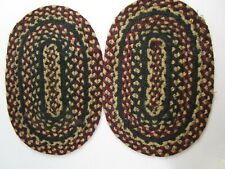 "2 Matching Vintage Small Hand Handmade Oval Braided Rug 10 x 15"" Table Decor"