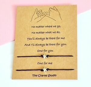 Set Of 2 Pinky Promise Best Friend Friendship Star Wish Bracelet Couples Gift