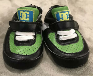 Quicksilver Baby DC Shoes, 6-12 Months, Sneaker Tennis Crib Shoes Green Black
