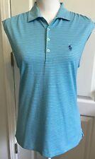 POLO GOLF RALPH LAUREN Shirt Top Sleeveless Blue STRIPE Size M Tailored NWT