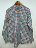 Southern Tide Mens Orange Blue Plaid Long Sleeves Button Down Shirt Size Large