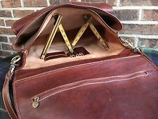 "VTG. ITALIAN DISTRESSED BASEBALL GLOVE LEATHER 17"" LAPTOP BRIEFCASE BAG"