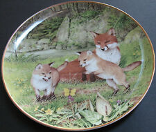 Foxes The Butterfly Chase In May Decorative Plate Limited Edition Porcelain