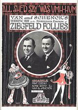 "Van and Schenck ""ZIEGFELD FOLLIES"" W. C. Fields / Fanny Brice 1920 Sheet Music"