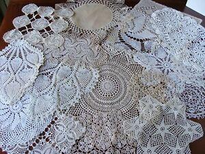 Vintage Lot of 17 Crochet Lace Doilies Handmade Doily