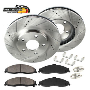 For Volvo C70 S40 V50 Front Drill Slot Brake Rotors & Ceramic Pads