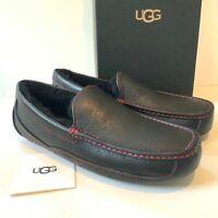 Men's UGG Slippers UK Size 11 Black Ascot Leather Loafers