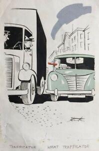 Leslie Starke New Yorker artist Original Cartoon Road Rage published in Men Only