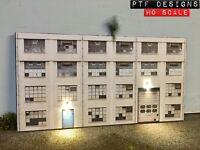 HO Scale Industrial #3 Building Flat / Front 3D Background w/ LED, Factory