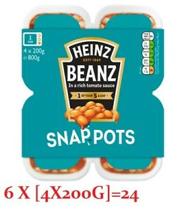 HEINZ SNAP POTS BAKED BEANS 6X4x200g SUITABLE FOR VEGETARIANS AND VEGANS