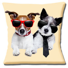 Two Jack Russell Dogs 16 inch 40cm Cushion Cover Funny Dogs Wearing Sunglasses