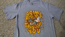 """Boys Nike """"GOING RIGHT THROUGH YOU"""" Graphic Football Themed T-Shirt Size L Gray"""