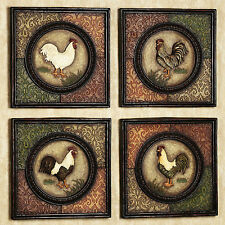 Country Rooster Wall Plaques Set of 4 Farm Animal Picture Kitchen Decor