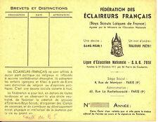 Carte Fédération des Éclaireurs Français (Boys Scouts Laïques de Fr.). Vers 1940