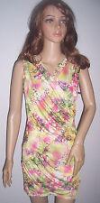 HOT Multicoloured Floral Dress 8 10 Stretchy wedding clubwear retro design