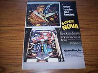 GAME PLAN SUPER NOVA HUGE PINBALL MACHINE AD PROMO ARTWORK READY TO FRAME