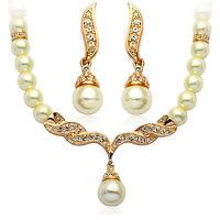 Ensemble de bijoux mariage or et blanc collier perles boucles d'oreilles s113g