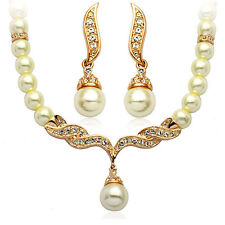 Wedding Bridal Jewellery Set Gold & White Pearl Necklace Studs Earrings S113G
