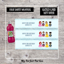 6 Princess and Superhero Personalised Fruit Shoot Bottle Wrappers Party Favour 6