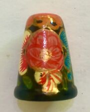 More details for collectable russian wooden handpainted laquered thimble lady and fan