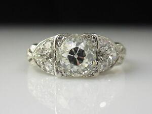 Art Deco Diamond Engagement Ring Platinum Old Mine Estate Vintage Antique 1.00tw