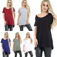 Womens Plain Slash Neck Oversized Baggy Top Ladies Off Shoulder Bardot T Shirt