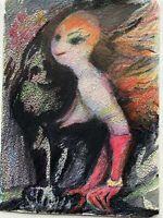 Charlotte Zurek 1910-1971 Figur Frau mit roten Handschuhen Expressiv 49 x 36 cm