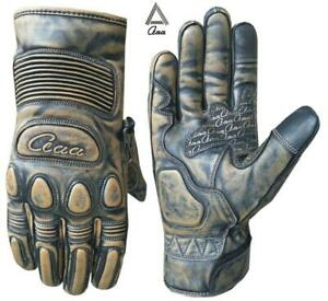 Motorbike Motorcycle Genuine Vintage Leather Winter Gloves Gel Pads Touch Screen