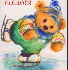 MARY HAMILTON...DAPPER TEDDY BEAR ICE SKATING,SWEATER,VINTAGE CHRISTMAS POSTCARD