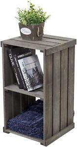 Vintage Dark Gray Wood Crate Design Storage Organizer Shelf/Accent Side Table
