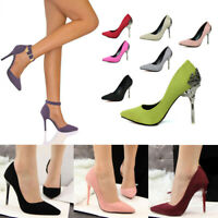 Womens High Heels Party Suede Pointed Toe Pumps Stiletto Work Court Shoes Size