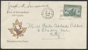 1949 #282 4c Union of Newfoundland/ Canada FDC, Signed By Premier Joey Smallwood
