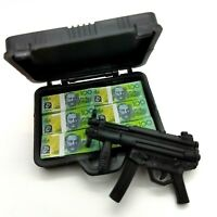 "1/6th Scale Access Gangster Brief Case & 6 Stacks of $100 notes + Gun 12""Action"