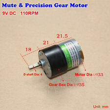 Mini DC 9v 110rpm 35mm Reducer Motor Precision Gear box Small Gearmotor Mute