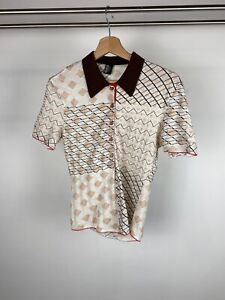 Vivienne Westwood Wolford Beige Check Pattern Classic Polo Shirt Top UK L