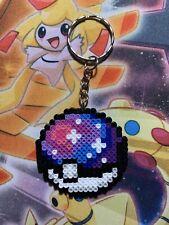 """Pokemon Galaxy Pokeball Handmade Mini Perler Key Chain Brand New 2"""""""