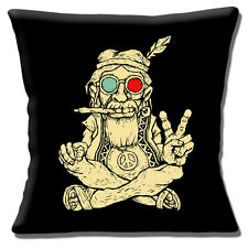 "Ageing Hippy 16""x16"" 40cm Cushion Cover Vintage Retro 60's Hippy Smoking Peace"