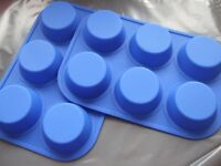 2 x Silicone 6 Cup Muffin/Fairy Cake Tin/Tray/Baking Pan/ Mould-Blue