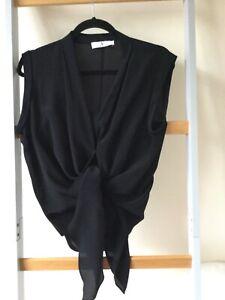 Black 100% Silk Top with Camisole Size 10 Jacques Vert UNWORN