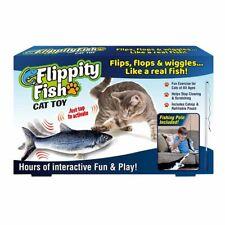 JML Flippity Fish Cat Toy - Includes Catnip & Refillable Pouch c/w Fishing Pole