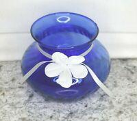 "Cobalt Blue Unbranded Medium Vase 3 3/4"" Tall with swirl Design and Ribbon"