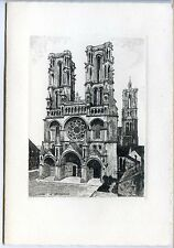CP 02 Aisne - Laon - La Cathédrale - Dessin - Carte 2 volets