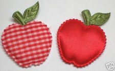 50 Red Padded Satin/Gingham Apple Appliques DIY Cardmaking