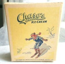 1/2 Pint 1923 Vintage Chase'S Ice Cream Carton Container Downhill Ski Graphics