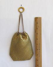 "VINTAGE 1940s 50s GOLDEN METAL MESH EVENING BAG DRAWSTRING TOP GOLDEN RINGS 5"""