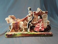 """Vintage Chalkware Victorian Carriage & Horses Suitor w/ Lady ~ 12"""" L """" Top Prize"""